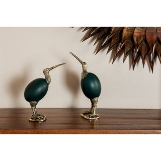 Set of 2 Eclectic 11 and 12 Inch Emu Bird Polystone Sculpture