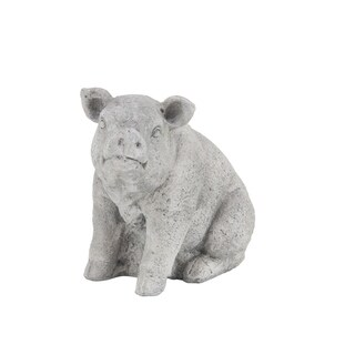 Copper Grove Beamer Traditional 16 x 17 Inch Gray Pig Sculpture