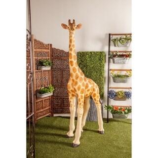 Modern 78 x 22 Inch Giraffe Polystone Statue