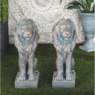 Pair of Traditional 31 Inch Gray Polystone Lion Sculpture