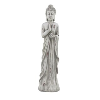 Traditional 32 x 8 Inch Distressed White Buddha Sculpture