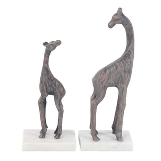 Set of 2 Contemporary 13 and 17 Inch Giraffe Sculptures
