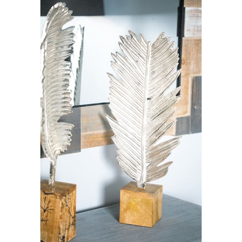 Natural 22 x 9 Inch Silver Aluminum Feather Sculpture with Wooden Base