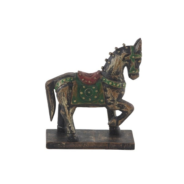 Traditional 9 x 7 Inch Wood and Brass Horse Sculpture with Base