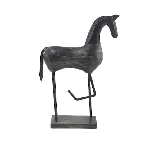 Eclectic 24 x 17 Inch Black Wood Stylized Horse Sculpture