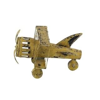 Farmhouse 8 x 13 Inch Distressed Yellow Iron Airplane Sculpture