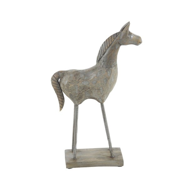 Eclectic 15 x 8 Inch Brown Wood Stylized Horse Sculpture