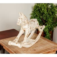 Farmhouse 17 x 27 Inch Distressed White Wooden Rocking Horse Sculpture