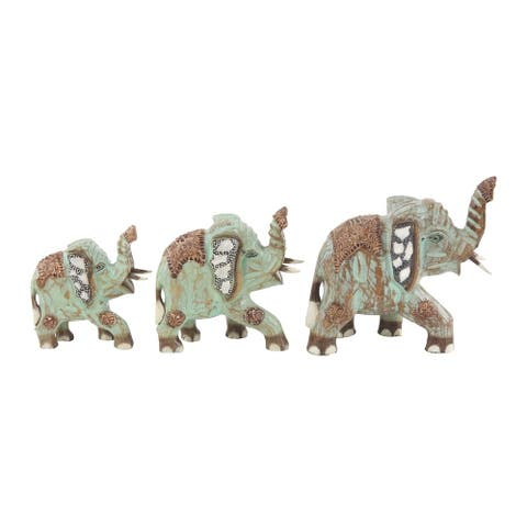 Set of 3 Eclectic 8, 10, and 11 Inch Wooden False Elephant Sculptures