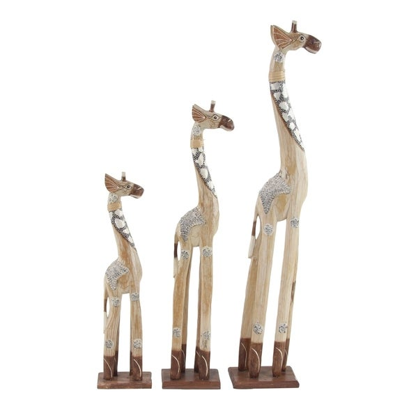 Set of 3 Eclectic 23, 31, and 40 Inch Wooden Giraffe Sculptures