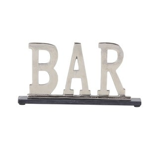 Modern 8 x 15 Inch Silver Aluminum and Marble BAR Sign Decor