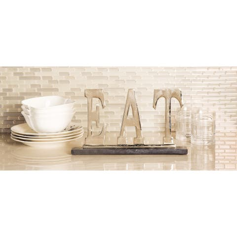 Modern 8 x 14 Inch Silver Aluminum and Marble EAT Sign Decor