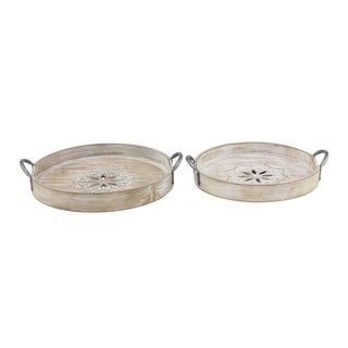 Set of 2 Natural 14 and 16 Inch Round Wooden Trays