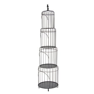 Traditional 75 x 19 Inch Black Tin Four-Tiered Bird Cage Rack