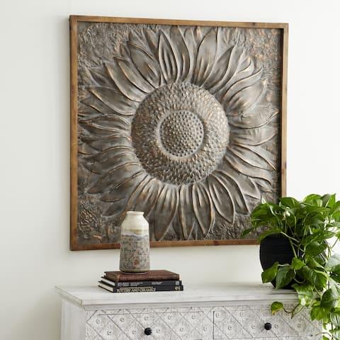 Traditional 39 x 39 Inch Brown Sunburst Metal Wall Decor