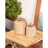 Set of 2 Rustic 7 and 10 Inch Brown Stoneware Jars with Bronze Lids