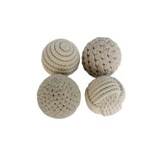 Set of 4 Natural 4 Inch Rope Balls