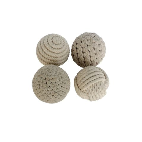 Set of 4 Natural 4 Inch Rope Balls