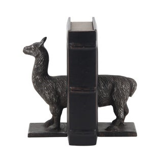 Pair of Eclectic 3 Inch Silver Iron Llama Bookends