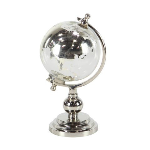 Eclectic 12 x 6 Inch Silver Glass and Aluminum Globe Sculpture