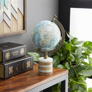 Rustic 16 x 9 Inch PVC, Stoneware, Aluminum and Wood Globe with Stand