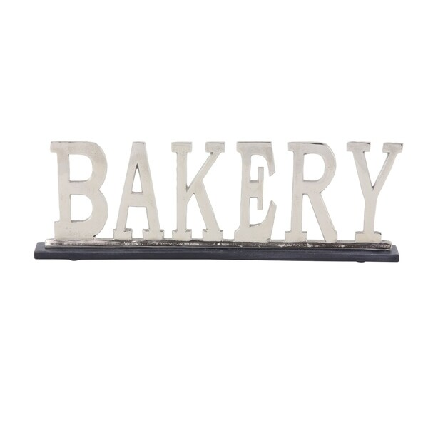 Modern 8 x 24 Inch Silver Aluminum and Marble BAKERY Sign Decor