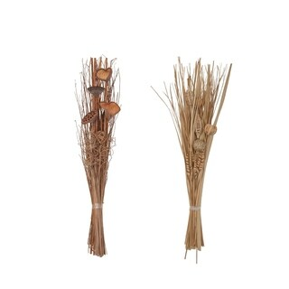 Set of 2 Natural 40 Inch Tall Slim Dried Plant Bouquets