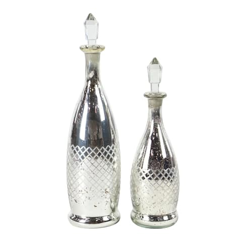 Set of 2 Traditional 16 and 20 Inch Glass Bottles with Clear Stoppers