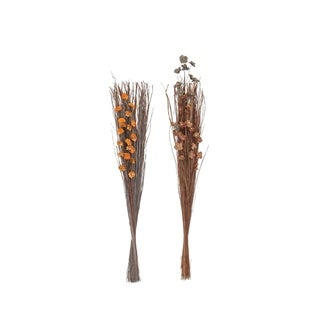 Set of 2 Natural 45 Inch Tall Dried Plant Bouquets - Brown