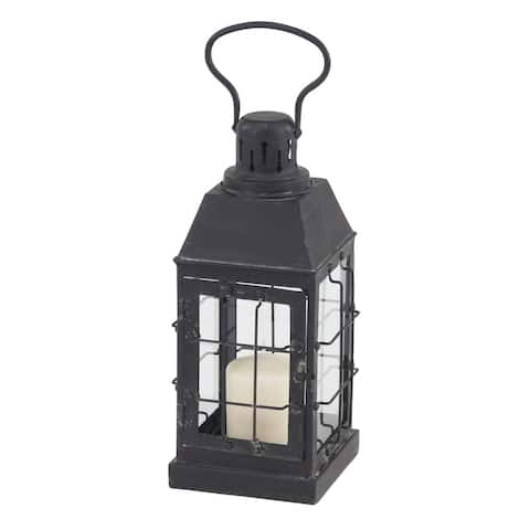 Traditional 14 x 7 Inch Black Iron and Glass Window Candle Lantern