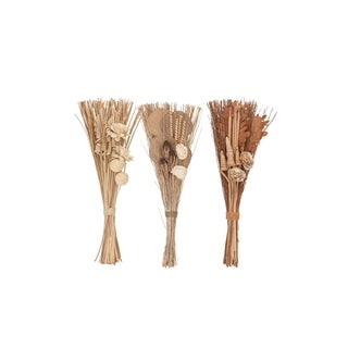 Set of 3 Natural 30 Inch Tall Dried Plant Bouquets