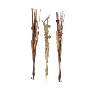 Set of 3 Natural 59 Inch Tall Slim Dried Plant Bouquets