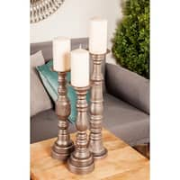 Set of 3 Traditional 15, 17 and 20 Inch Brown Wood Candle Holders