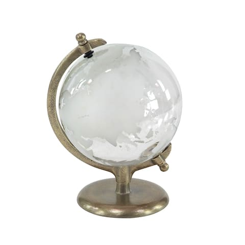 Eclectic 12 x 9 Inch Metal and Glass Globe