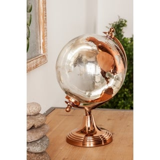 Modern 13 x 8 Inch Copper Glass and Aluminum Globe Decor