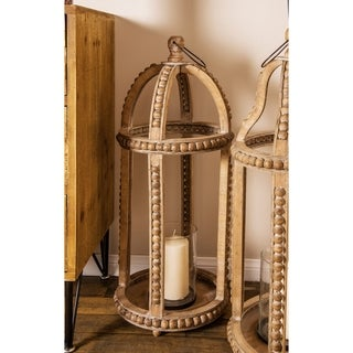 Rustic 29 x 13 Inch Cage-Style Wood Lantern with a Glass Candle Holder