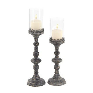 Maison Rouge Lamartine Set of 2 Rustic Metal Candleholders