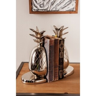 Pair of Modern 10 Inch Silver Aluminum Pineapple Bookends