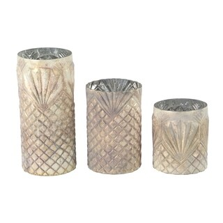 Set of 3 Coastal 7, 10 and 13 Inch Cylindrical Glass Candle Holders
