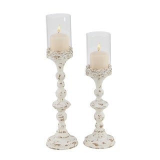 Link to The Gray Barn Joyful Stream Set of 2 Rustic 18 and 21 Inch White Metal Candle Holder Similar Items in Decorative Accessories