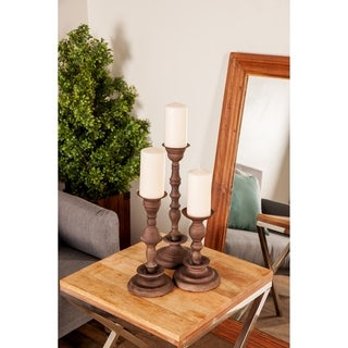 Set of 3 Rustic 13, 17 and 19 Inch Dark Brown Metal Candle Holder