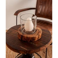 Rustic 6 x 8 Inch Clear Glass Candle Holder with Brown Wooden Base