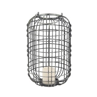 Farmhouse 20 x 10 Inch Gray Iron Wire Cage Candle Lantern