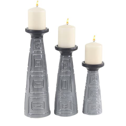 Set of 3 Modern 9, 12 and 15 Inch Gray and Black Candle Holders