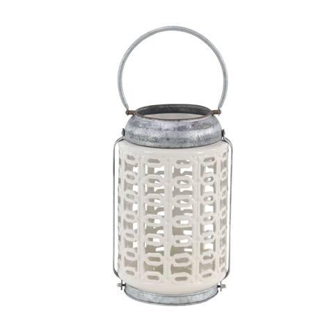 Farmhouse 18 x 9 Inch Stoneware Lattice Candle Lantern