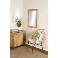 Rustic 35 x 22 Inch Brown Wood-Framed Rectangular Wall Mirror