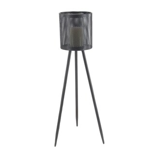 Modern 41 x 17 Inch Black Iron and Glass Floor Candle Holder