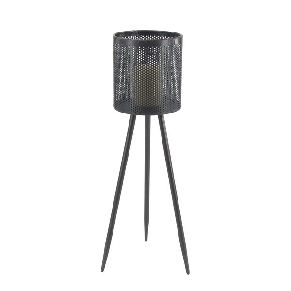 Modern 36 x 13 Inch Black Iron and Glass Floor Candle Holder
