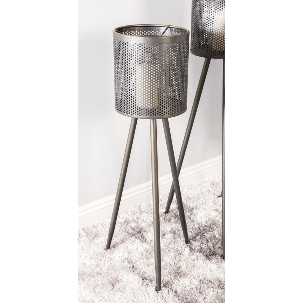 Shop Modern 36 X 13 Inch Black Iron And Glass Floor Candle Holder