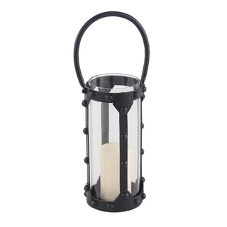 Modern 12 x 6 Inch Cylindrical Iron and Glass Candle Lantern
